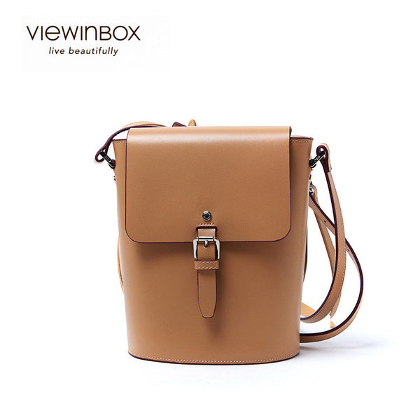 2016 New Summer Leather Bullet Bucket Messenger Shoulder Bag