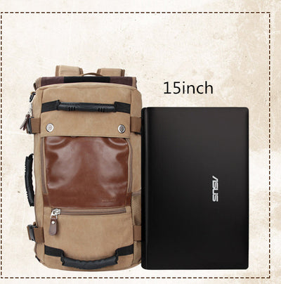 Canvas Laptop Backpack Travel Hiking Camping Rucksack Bag