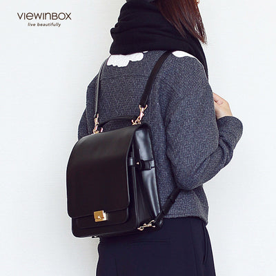 preppy style leather backpack for school/college