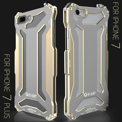 R-just Metal Dust Protective Shockproof Cover Case for iPhone 7/7 Plus-Gold