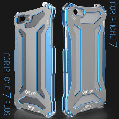 R-just Metal Dust Protective Shockproof Cover Case for iPhone 7/7 Plus-Blue