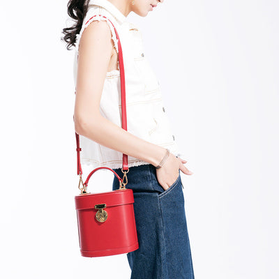 Viewinbox Red Small Shape Bucket Bag Purse for Women