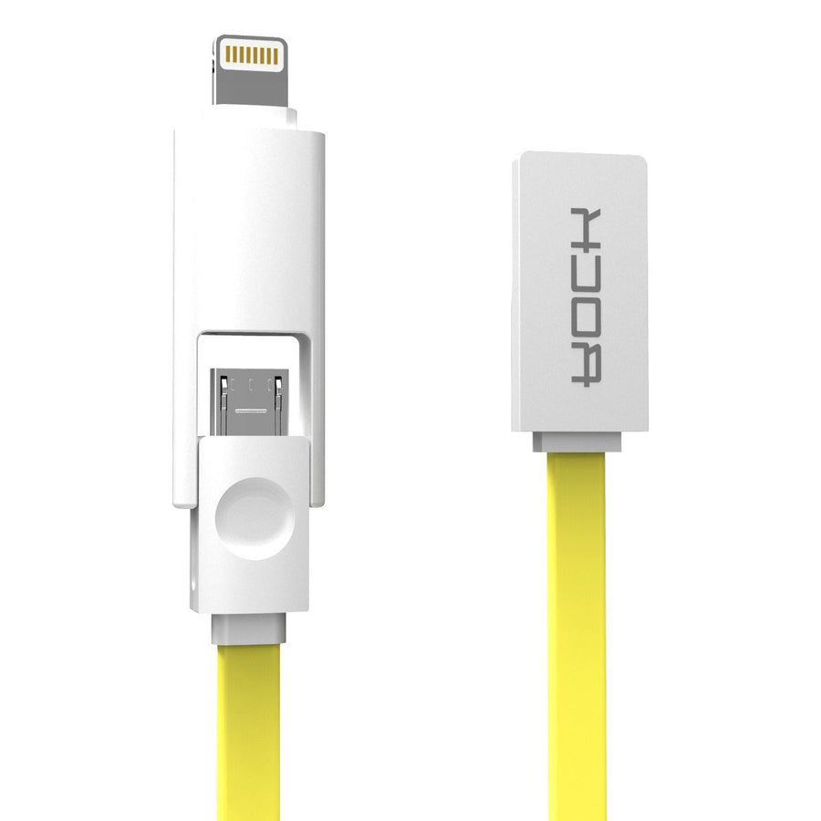 2-in-1 USB Cable, Rock 1m Sync Data Lightning+Micro USB Cable for Samsung iPhone