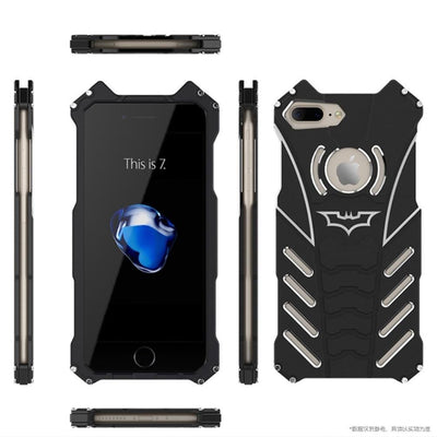 Batman Style Aluminum Metal Bumper Frame Shockproof Case Cover Shell for Apple iPhone 7 and 7 Plus