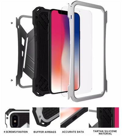 R-JUST Outdoor Shockproof Metal Case for iPhone X