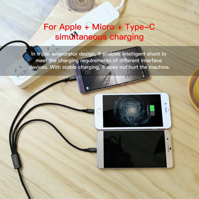 Baseus  3 in 1 Type C Micro and Lightning Charging Cable