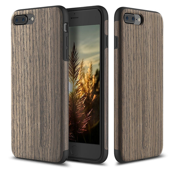Wood Pattern Skin Design + TPU Bumper Case for iPhone 7 & 7 Plus