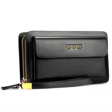 Men Business Clutch Wallet PU Leather Waterproof Cell Phone Bag