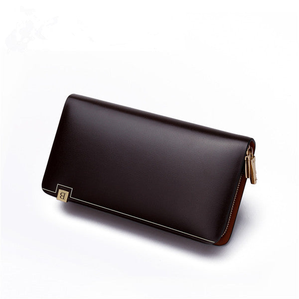 Men's Genuine Leather Wallet Hand Bag with Metal Zipper Around