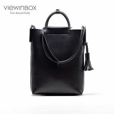 Black Casual Large Leather Tote Handbag Bag for Women