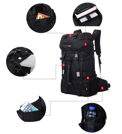 Black Large 55L Outdoor Rucksack Climbing Hiking Camping Backpack