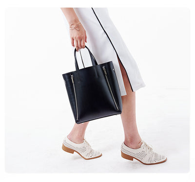 Black Leather tote handbag for work