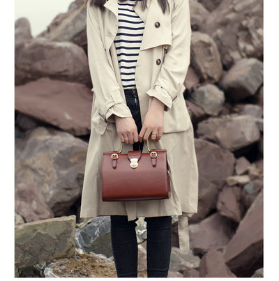 Cool Women Vintage Leather Box Handbags Purse