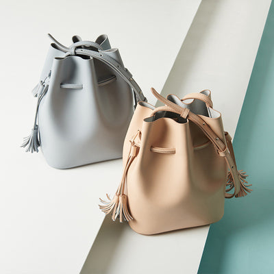 Leather Crossbody Bucket Bag with tassel for Women