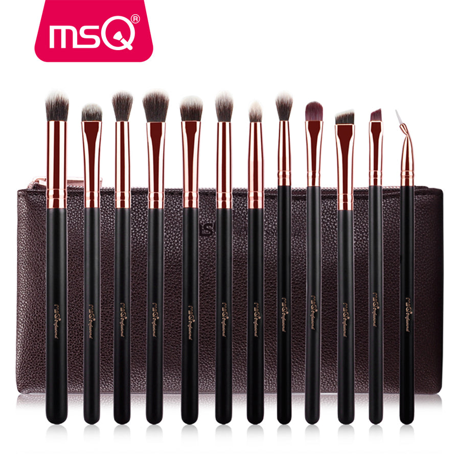 12pcs Rose Gold Eyeshadow Makeup Brushes Set Pro