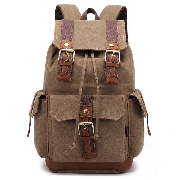 Large 27L Stylish Canvas Vintage Men Mountaineering Backpack Outdoor Travel Bag
