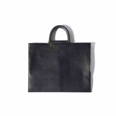 Casual Super Thin Soft Large Leather Tote Bag Business Handbag for Ladies-Black
