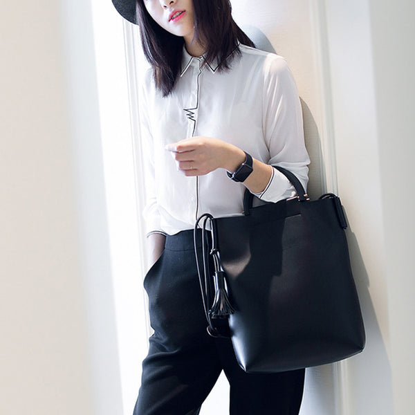 Black Casual Large Leather Tote Bag for Women