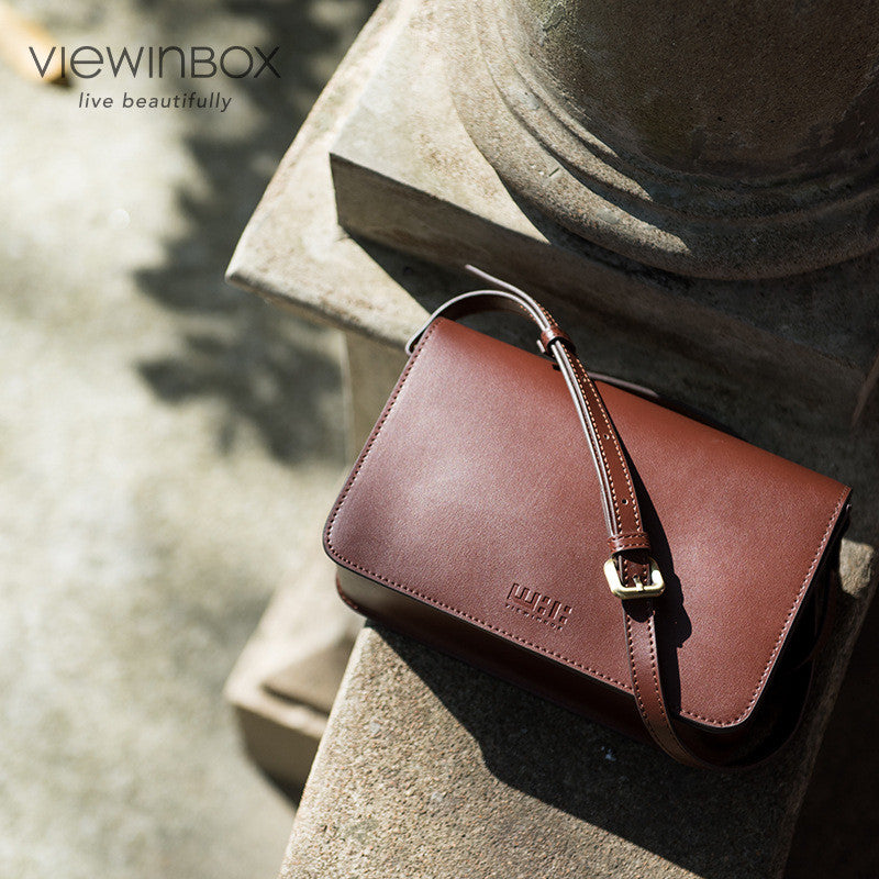 mini brown leather messenger bag for women