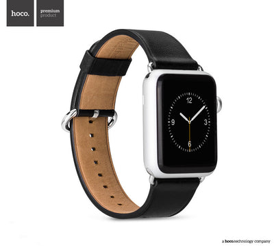 Classic Buckle Calf Leather Band for Apple Watch-black
