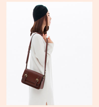 Small leather messenger bag for women