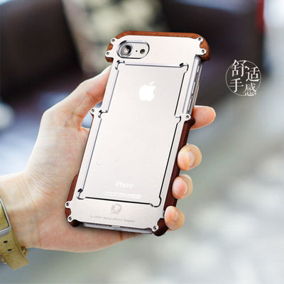 R-Just Aluminum + Wood Protection Case For iPhone 7/7 Plus