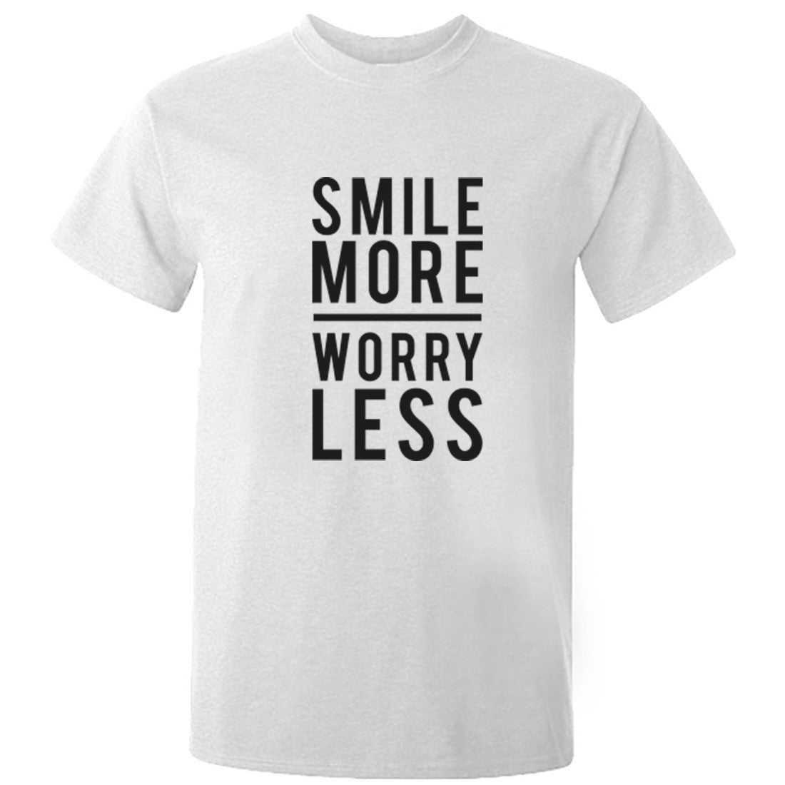 Smile More  Worry Less Unisex Fit T-Shirt K0416 - Illustrated Identity Ltd.