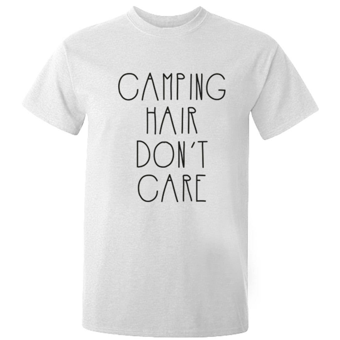 Camping Hair Don't Care Unisex Fit T-Shirt K0462 - Illustrated Identity Ltd.