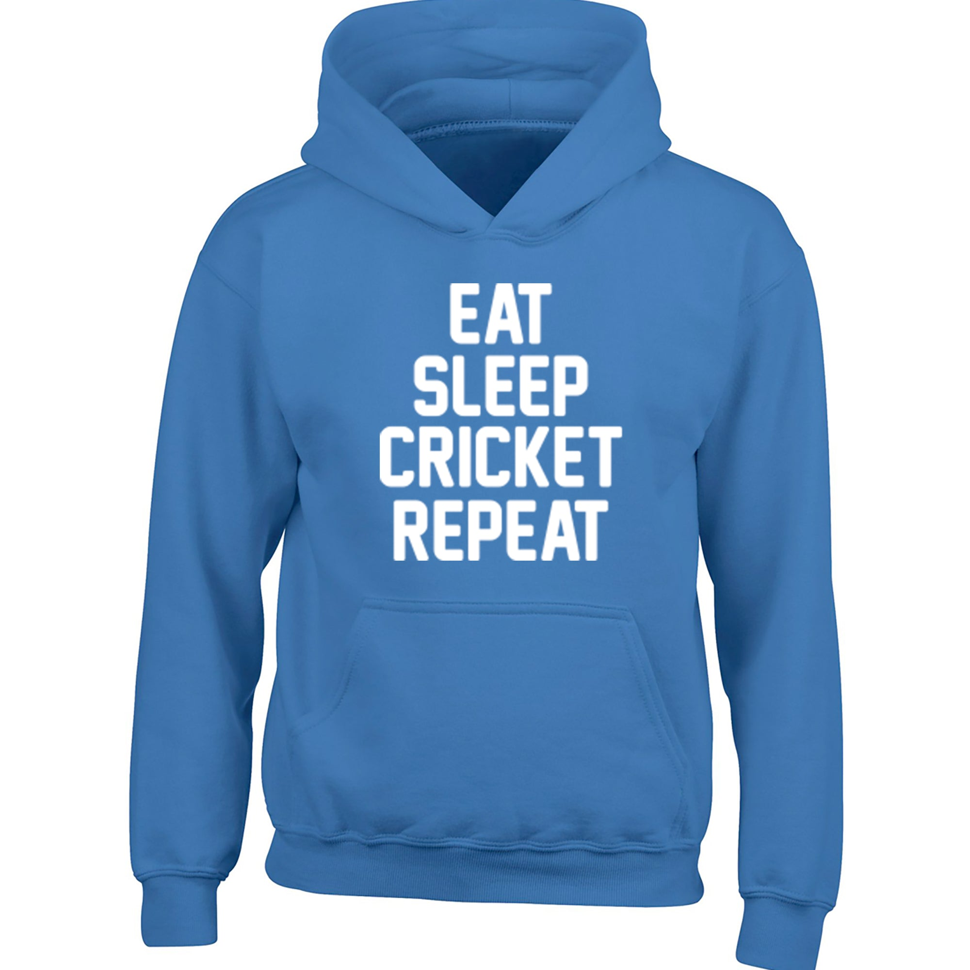 Eat Sleep Cricket Repeat Childrens Ages 3/4-12/14 Unisex Hoodie K0871 - Illustrated Identity Ltd.