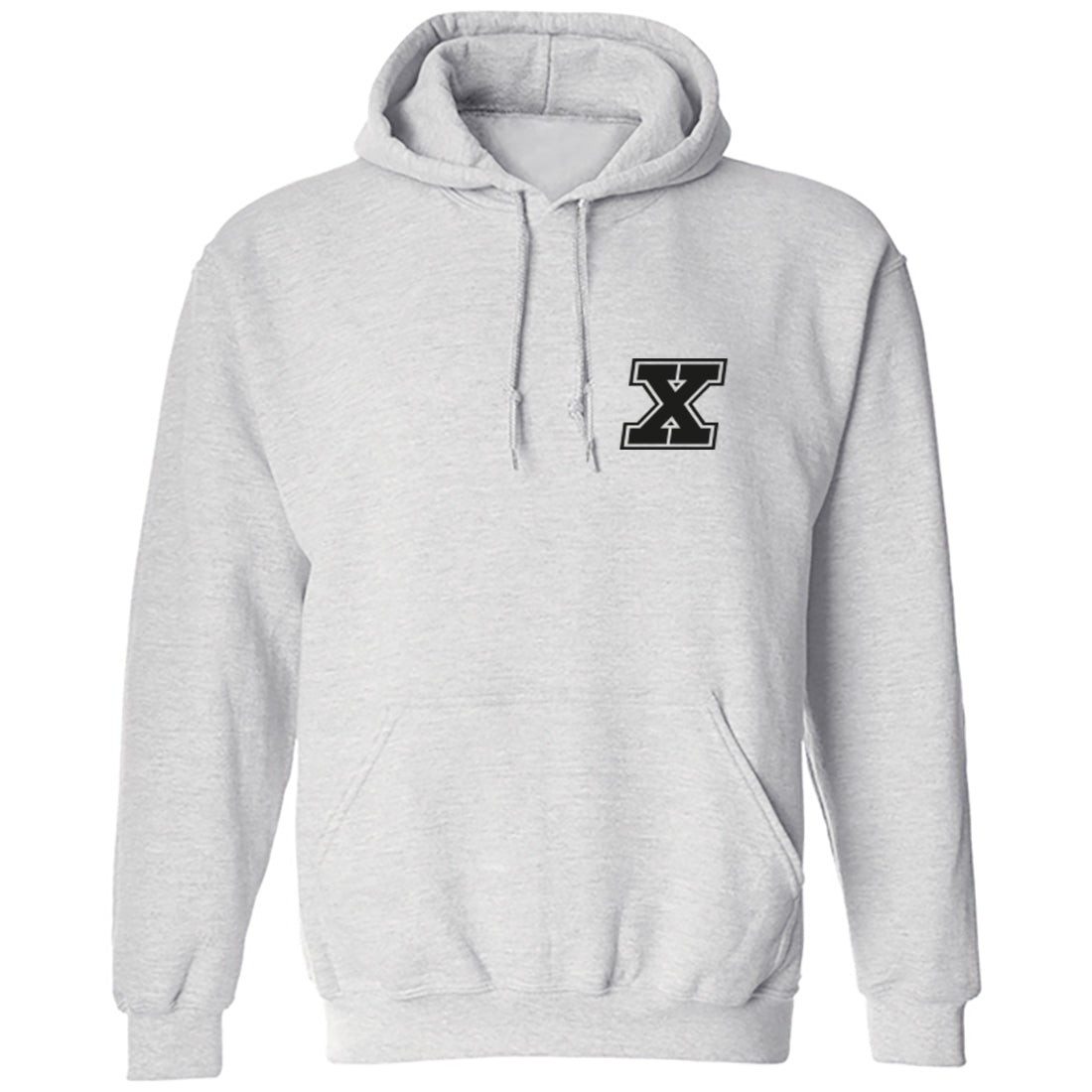 Initial 'X' Pocket Print Unisex Hoodie K0940 - Illustrated Identity Ltd.
