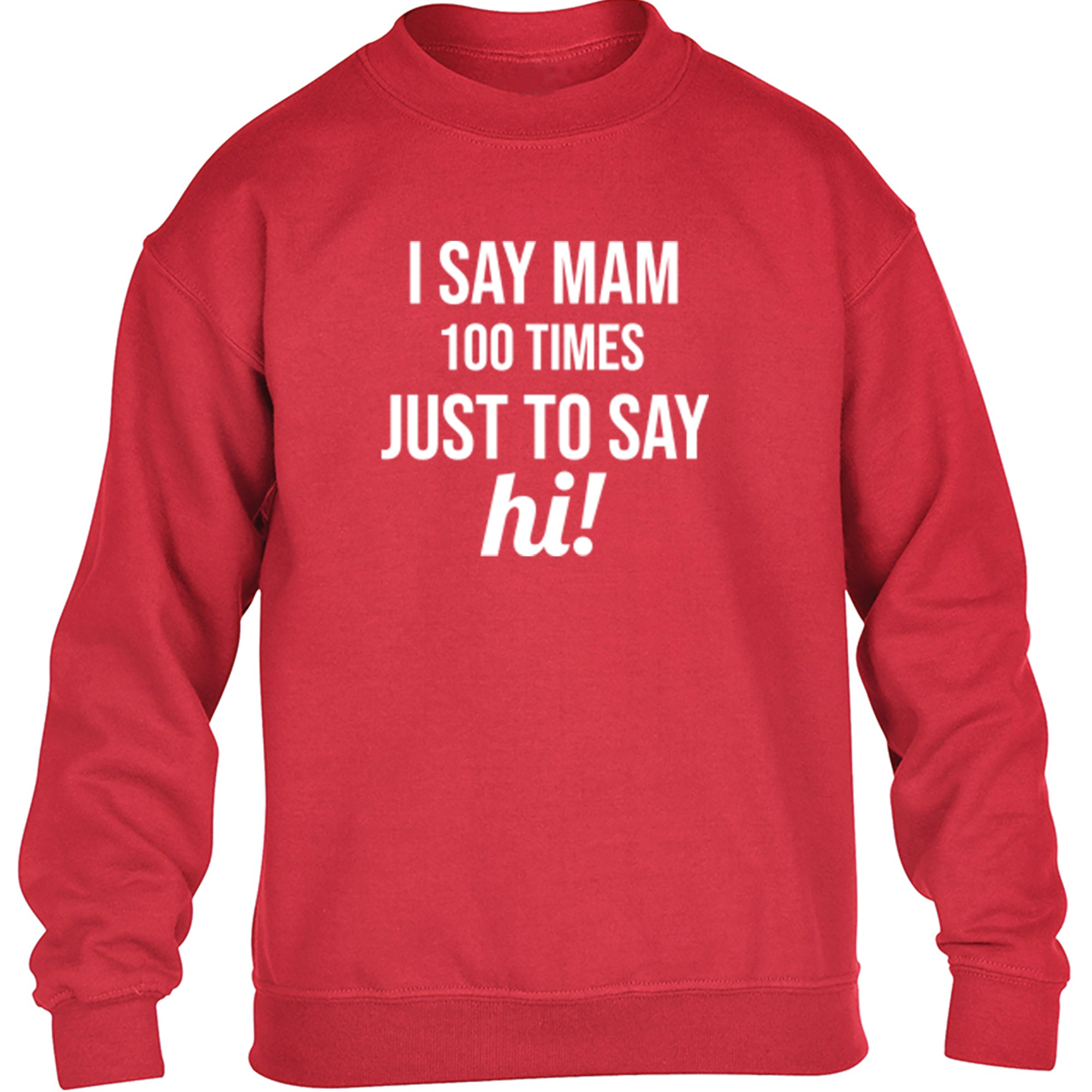 I Say Mam 100 Times Just To Say Hi! Childrens Ages 3/4-12/14 Unisex Jumper S0353 - Illustrated Identity Ltd.