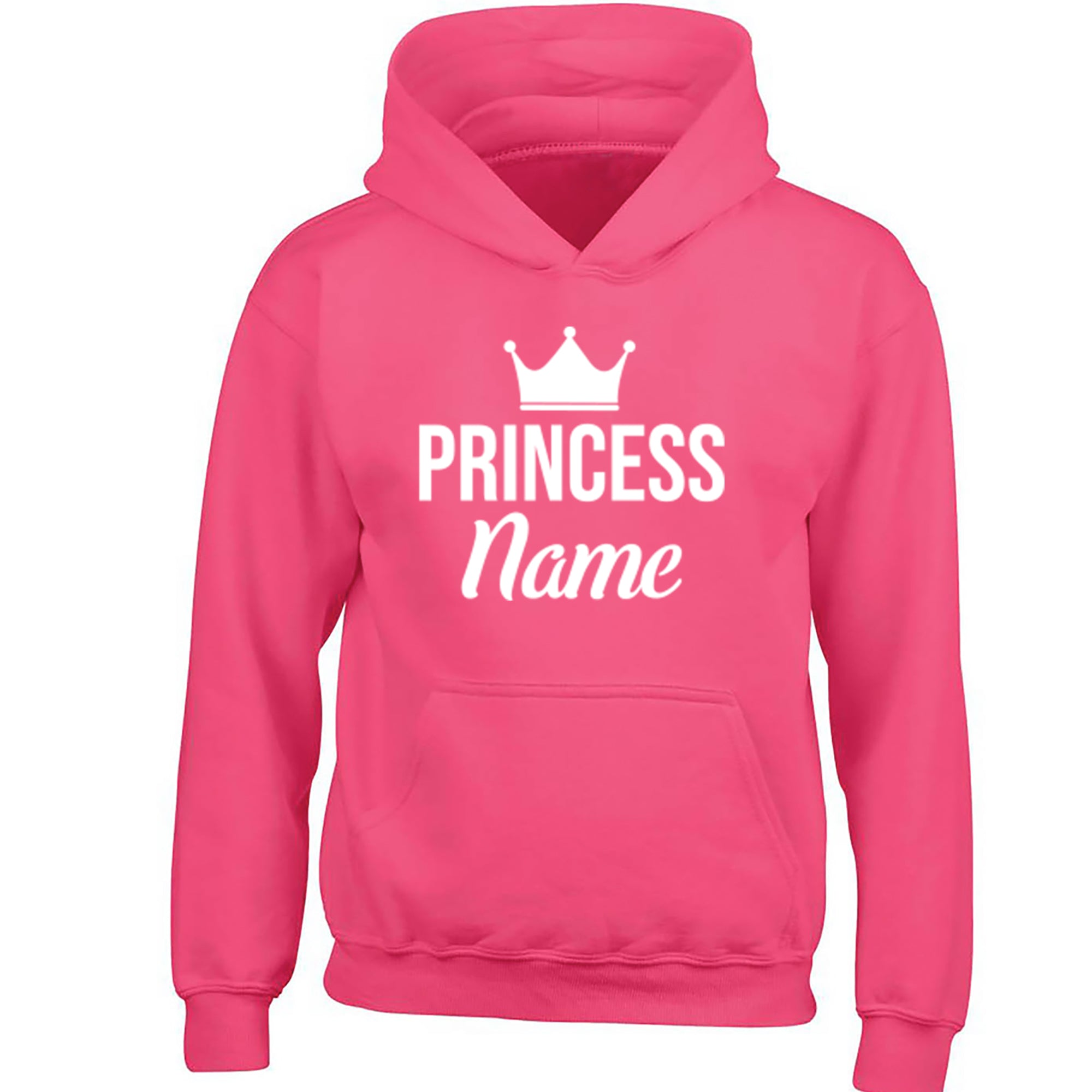 Personalised Princess Design Childrens Ages 3/4-12/14 Unisex Hoodie S0463 - Illustrated Identity Ltd.