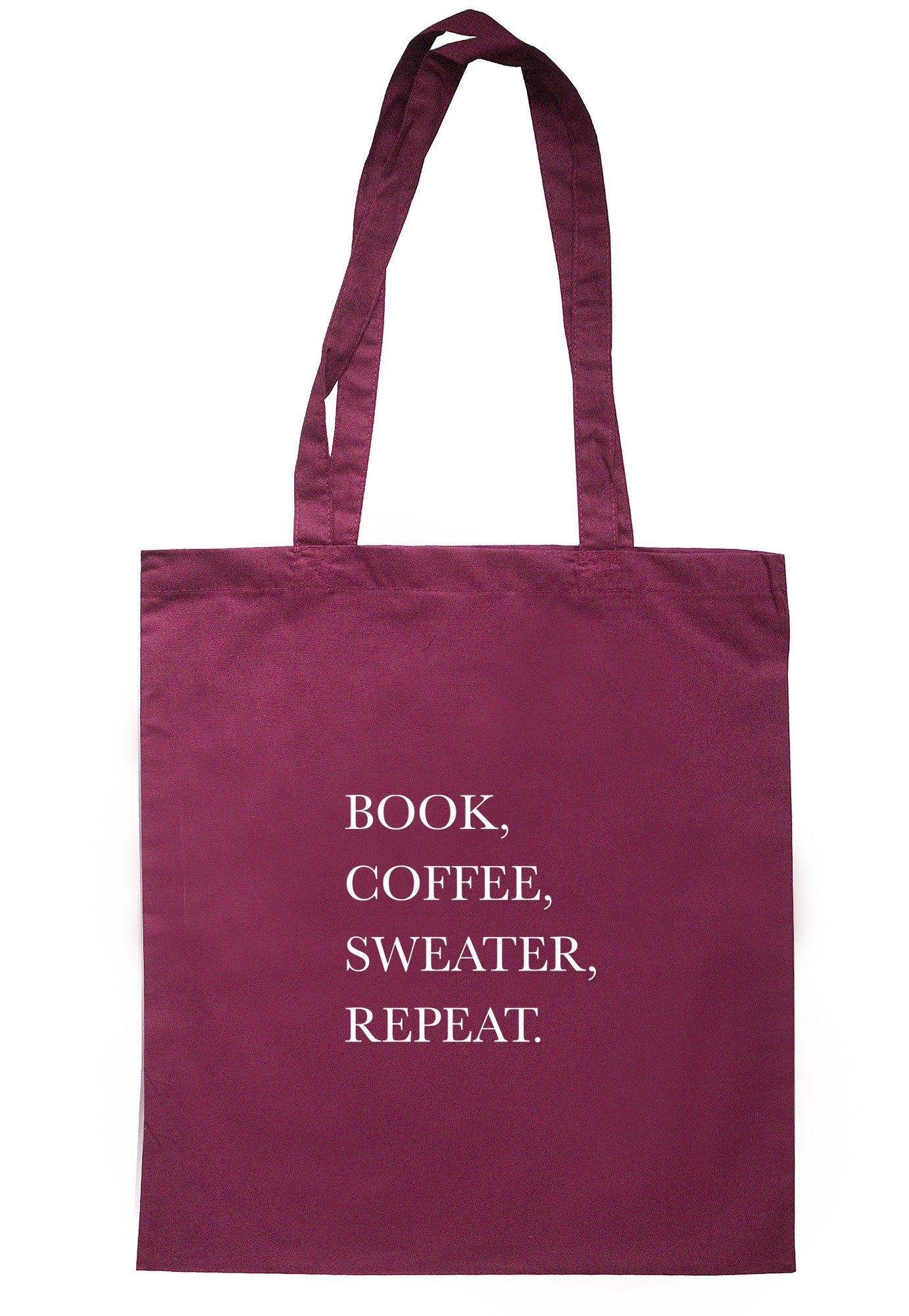 Book, Coffee, Sweater, Repeat. Tote Bag S1092 - Illustrated Identity Ltd.