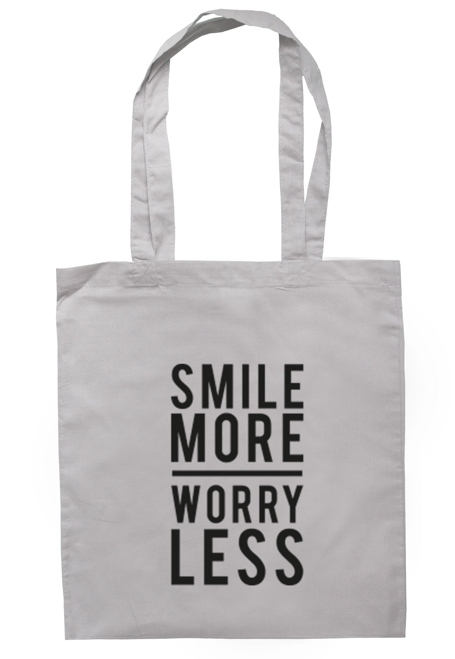 Smile More Worry Less Tote Bag TB0217 - Illustrated Identity Ltd.