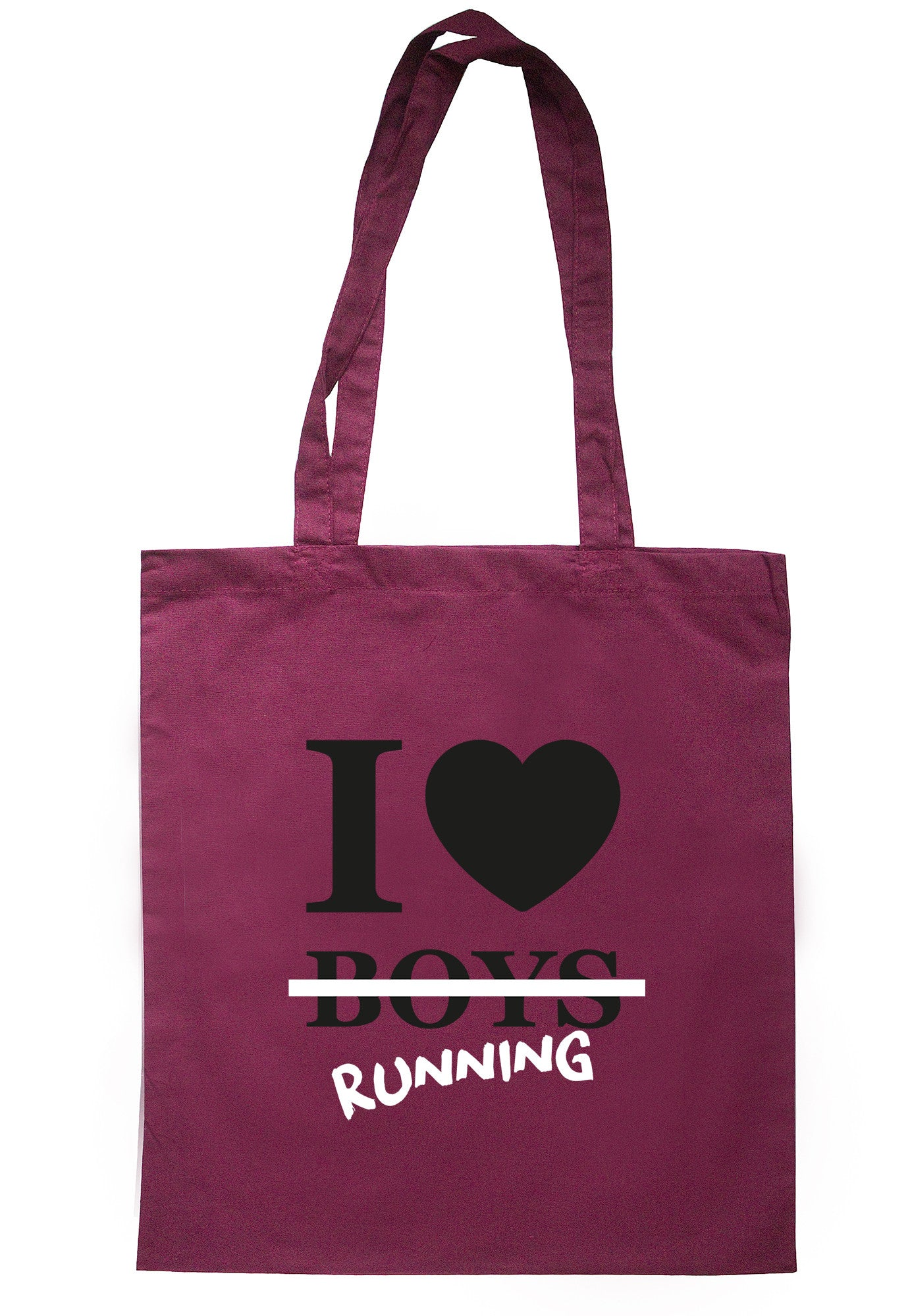 I Love Running Not Boys Tote Bag TB0424 - Illustrated Identity Ltd.