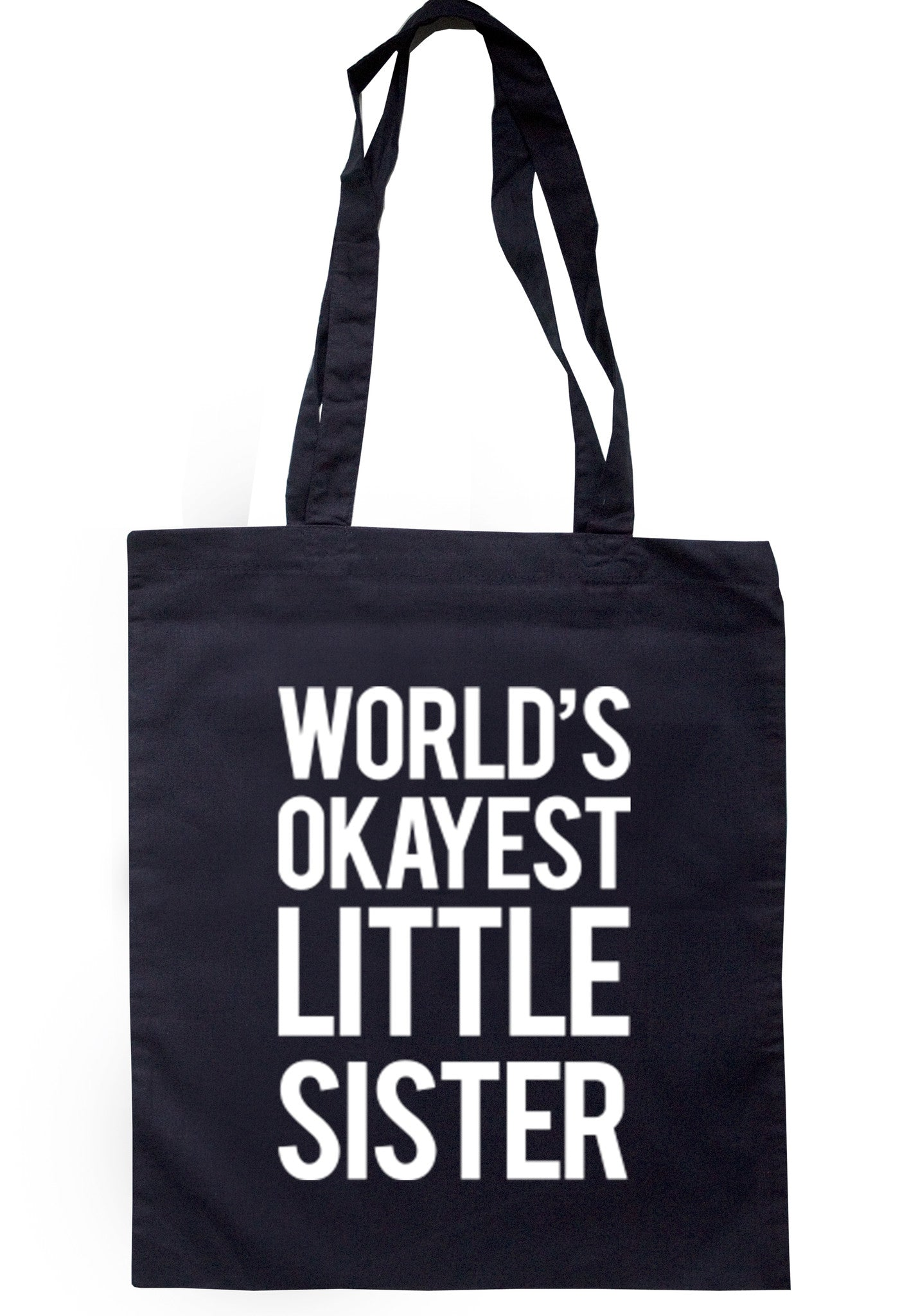 Worlds Okayest Little Sister Tote Bag TB0037 - Illustrated Identity Ltd.