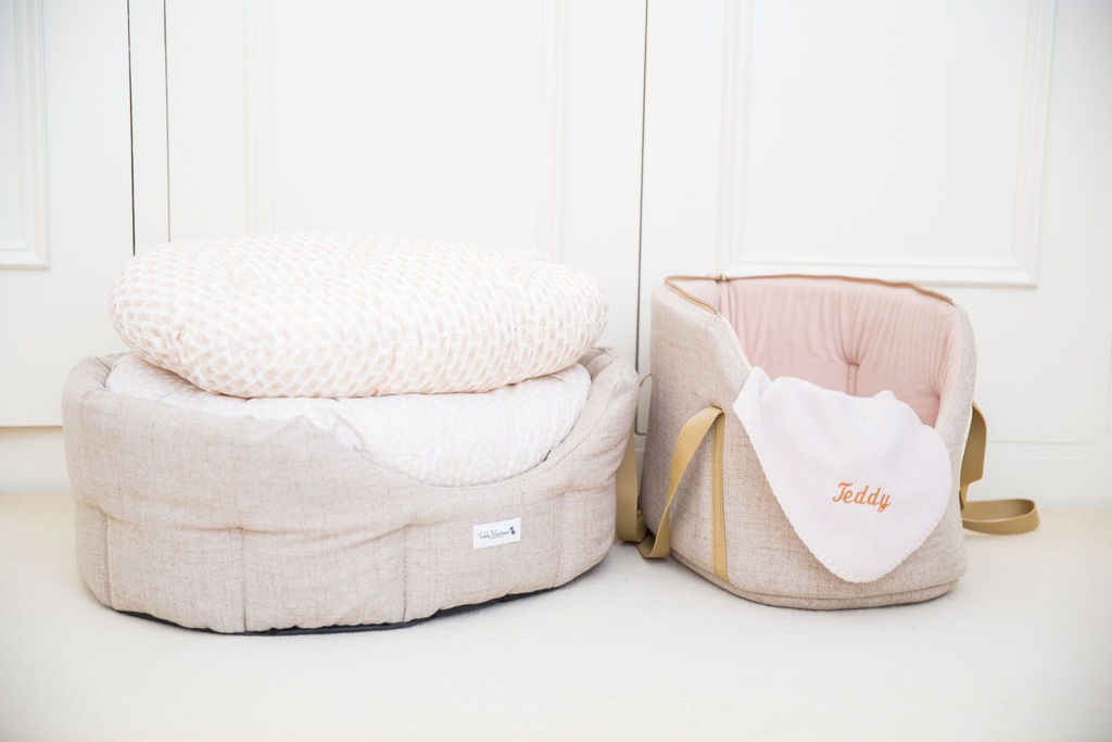 Chic neutral dog beds, carriers and accessories for stylish homes by Teddy Maximus