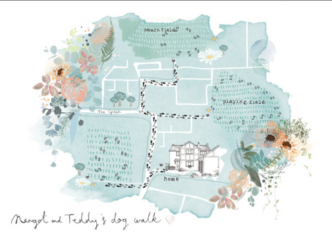 Personalised Dog Walk Map by Bryony Fripp