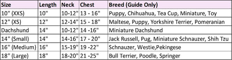 Dog Coat Size Chart