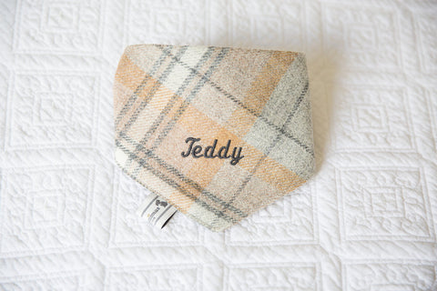 Personalised Tweed Dog Neckerchief by Teddy Maximus