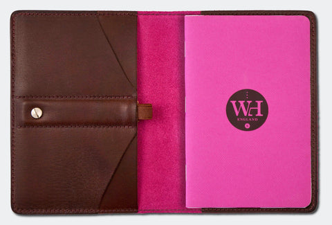 Dark Chocolate & Fuchsia Pocket Notebook Cover