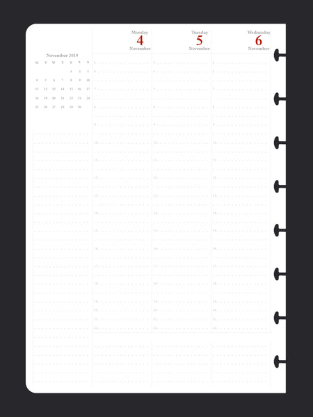 Six Month VERTICAL Diary (A5, One-week-to-TWO-pages)