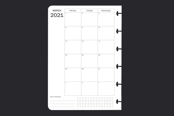2021 Month to 2 Page Diary (A6)
