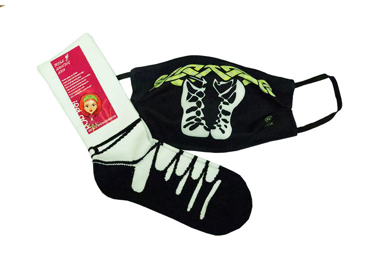 Pump Design Facemask and Novelty Irish Dancing Pump  Socks