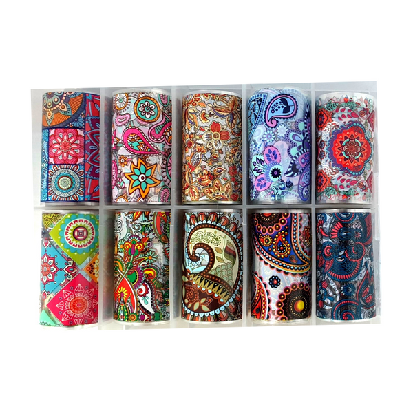 Nail Art Foil Transfers - 10 Pack Paisley Patterns