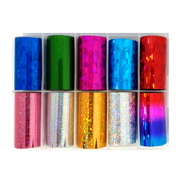 Nail Art Foil Transfers - 10 Pack Disco Multi-Colour Pattern freeshipping - Gel Nail Varnish