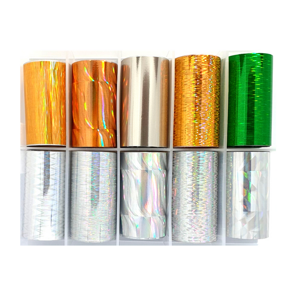 Nail Art Foil Transfers - 10 Pack Silver/Gold/Green Pattern freeshipping - Gel Nail Varnish