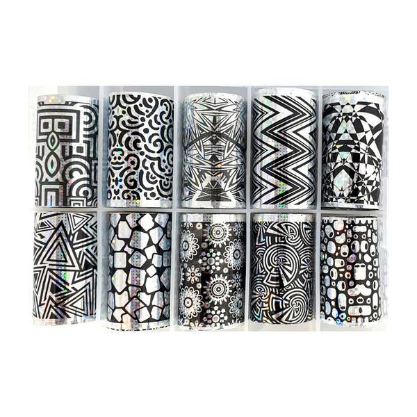 Nail Art Foil Transfers - 10 Pack Silver & Black Patterns freeshipping - Gel Nail Varnish