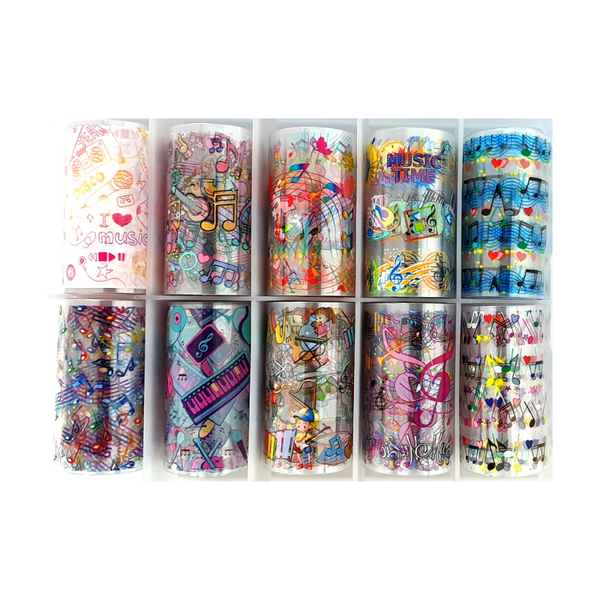 Nail Art Foil Transfers - 10 Pack Musical Patterns