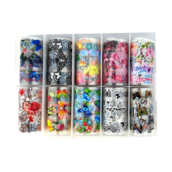 Nail Art Foil Transfers - 10 Pack Butterflies & Flowers freeshipping - Gel Nail Varnish